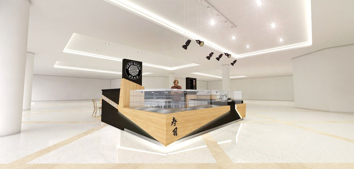 Wooden black color sushi kiosk design,mall used sushi kiosk for sale