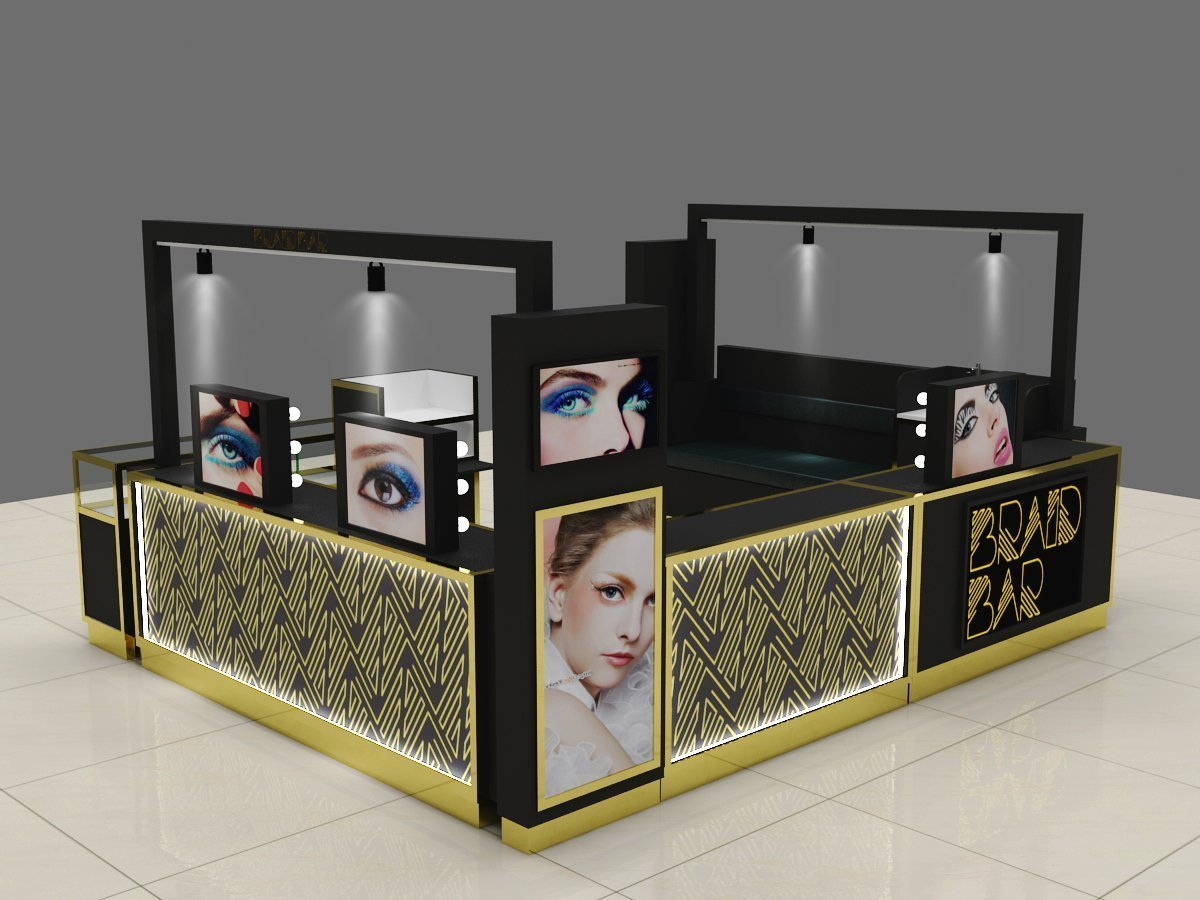 Eyebrow threading kiosk in mall black and golden luxury bar for sale