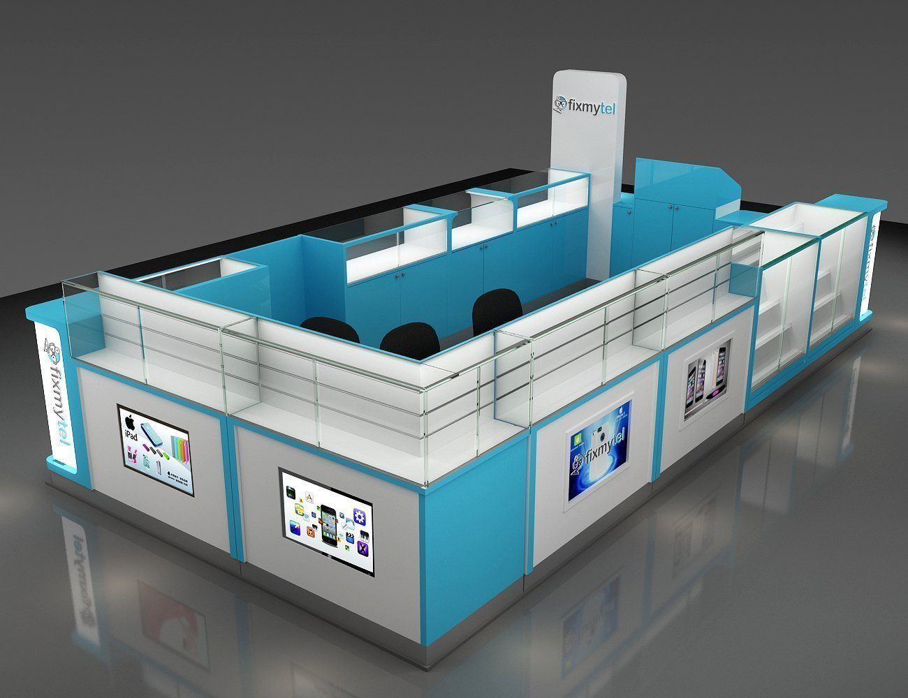Cell phone fix kiosk design in mall with affordable price for sale