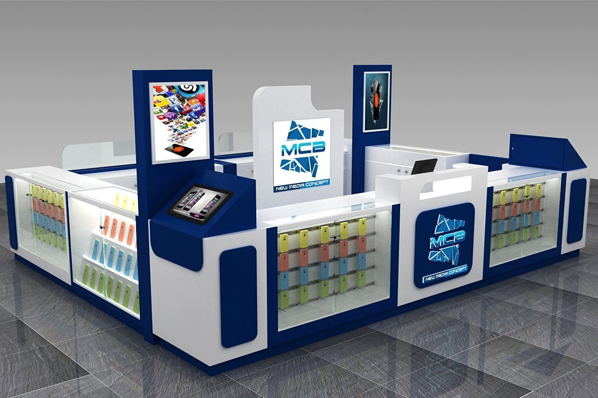 Mall Kiosk Phone Repair Shop With Phone Accessory Display Counter
