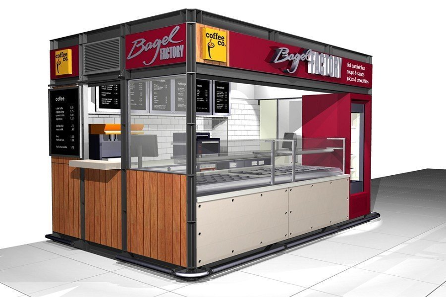 outdoor food kiosk design in mall