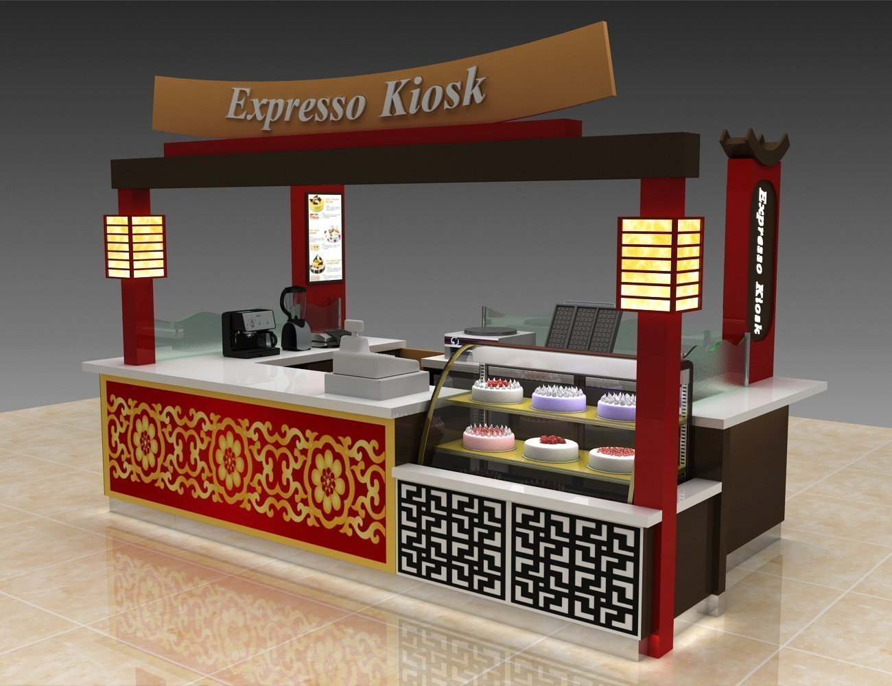 Mall food kiosk design for sale | Japanese traditional food hut for