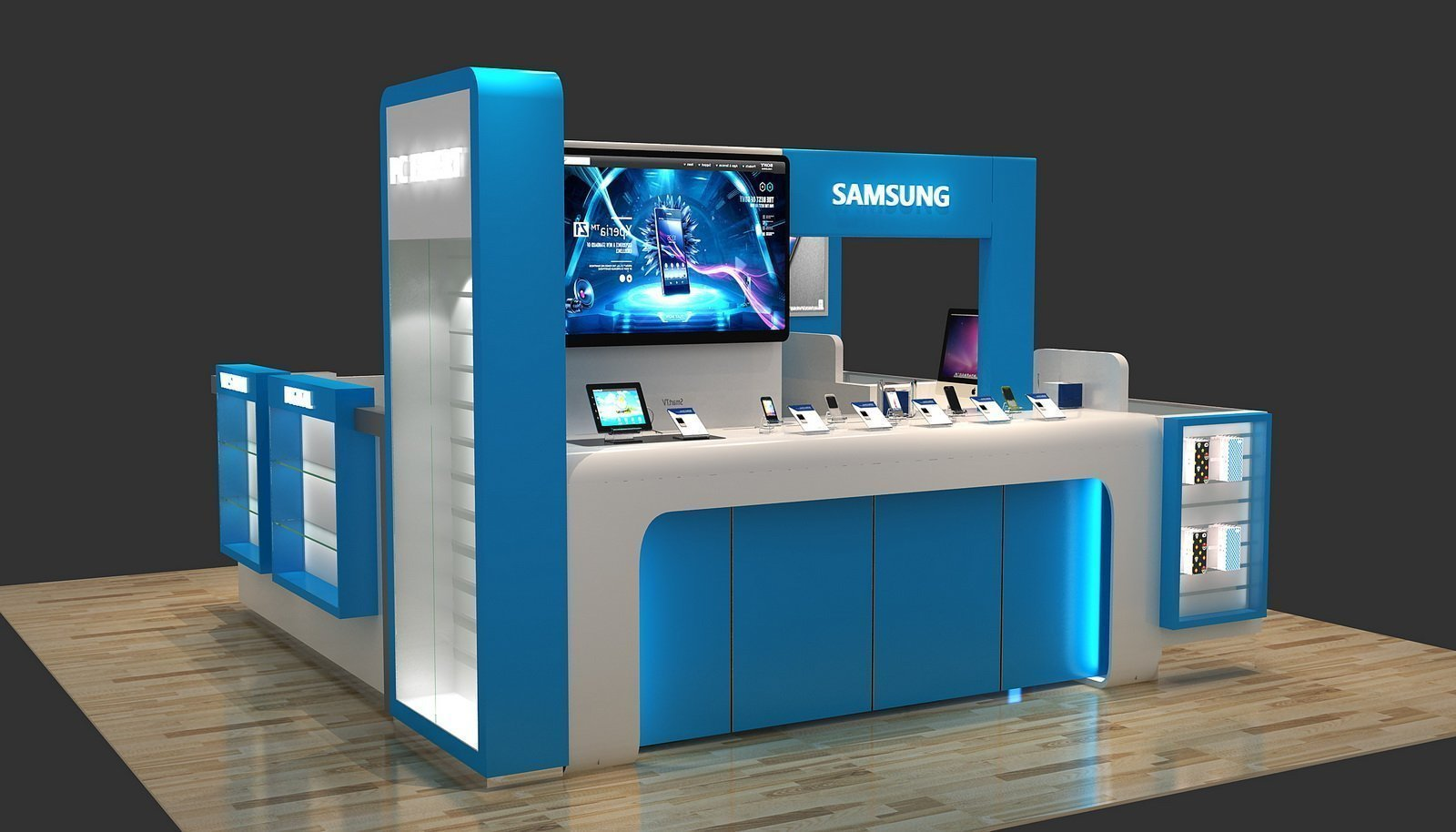 Blue Tech Digital Cell Phone Repair Kiosk concept for mall