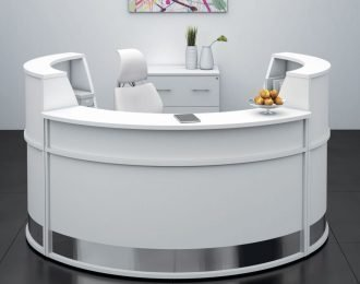 White & round style reception desk for salon office or bank