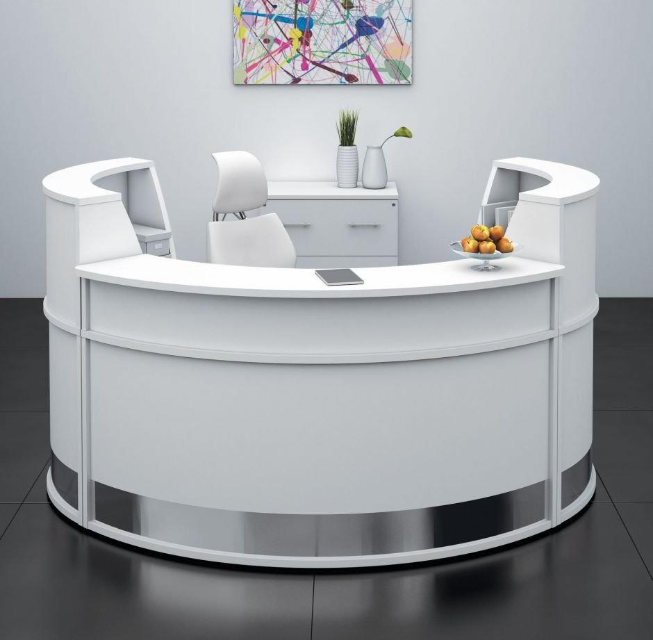 white& round reception desk
