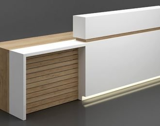 Solid wood office reception desk in a white & timber look