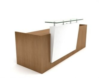 Wooden & white office reception counter for sale | low cost