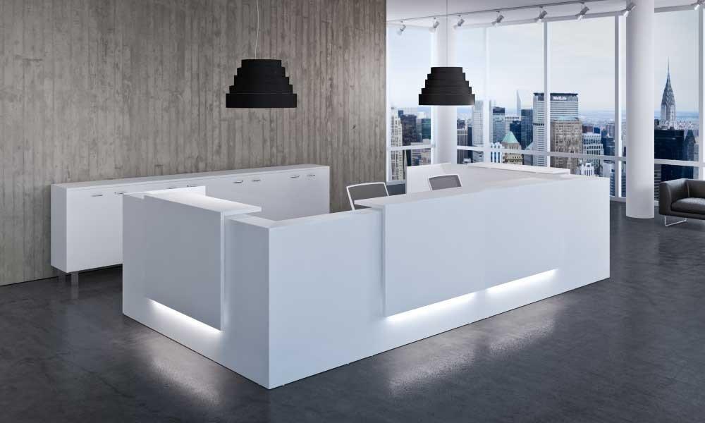 white stone office reception desk