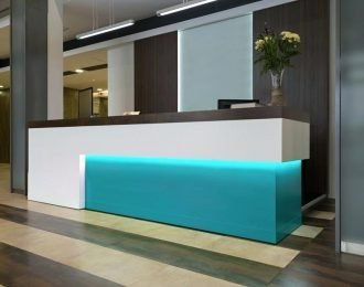 Led light Hotel Reception Desk Bespoke Reception Counter for sale