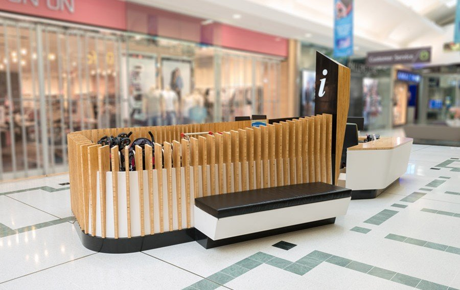 Modern concept wood timber slot mall kiosk design ideas