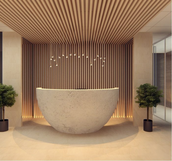 round hotel & salon reception desk