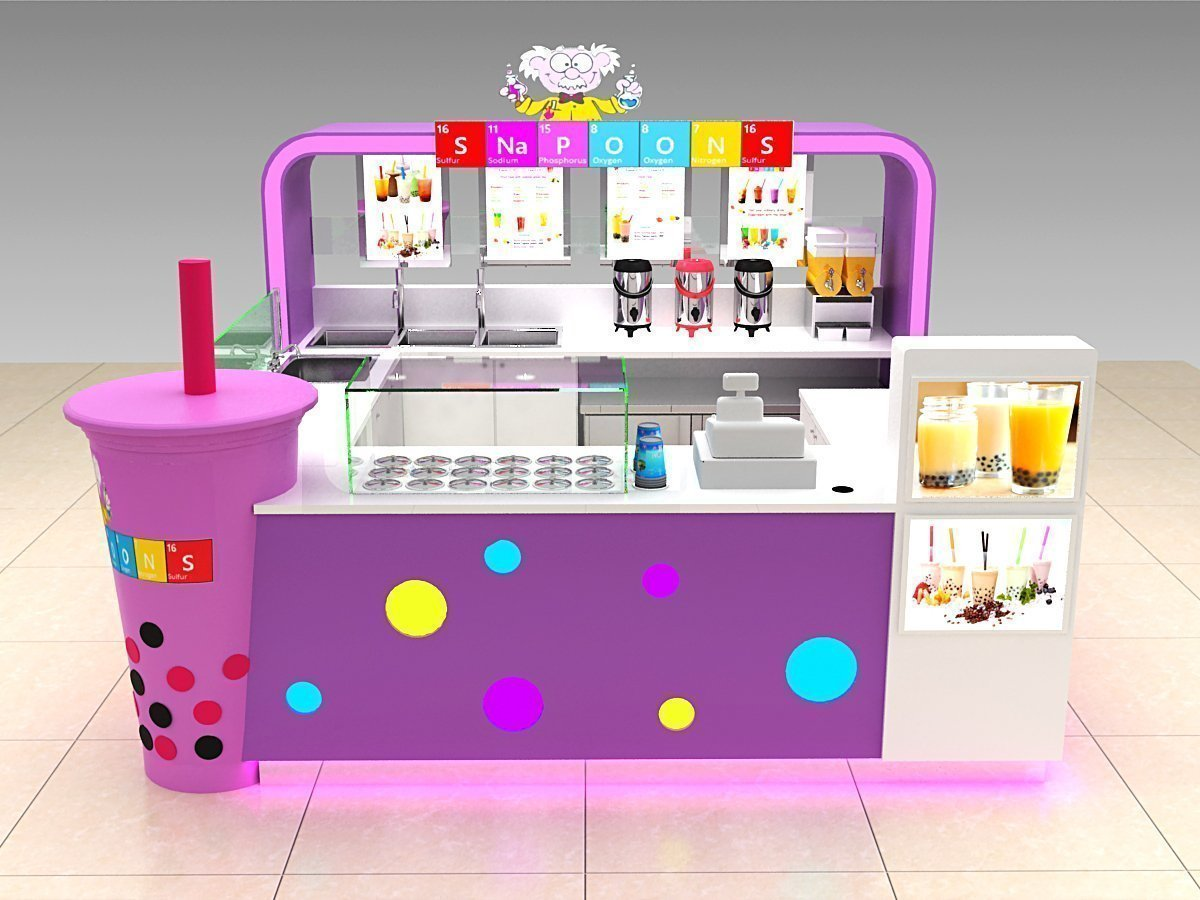bubble tea kiosk in shopping mall