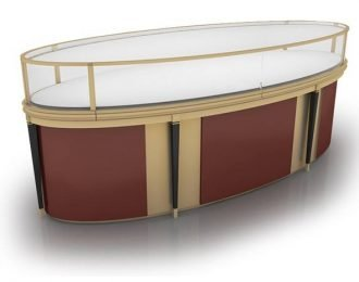 Golden oval-shaped jewelry display cabinet and counter design for sale