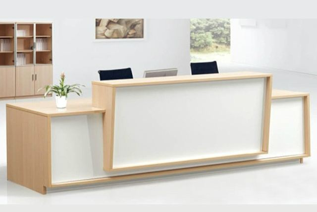 wooden white reception counter