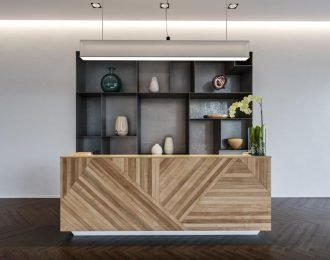 Spa Salon reception counter | natural wood irregular joint together