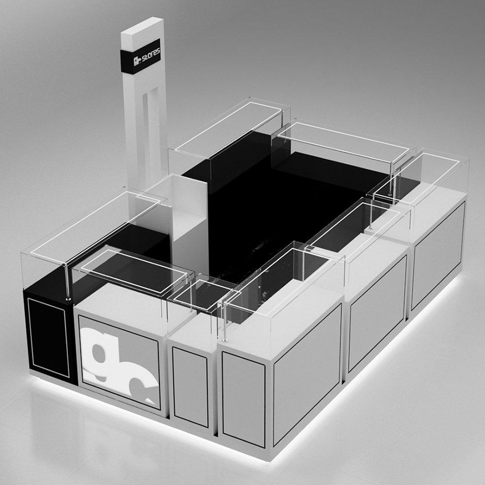 white jewelry kiosk design