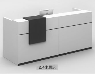 2.4 Meter white & black office reception desk for sale