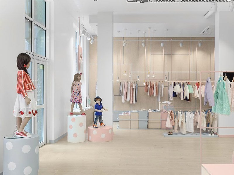 229444ec369 In the decoration design of children's clothing store, want to seize the  desire of customers to buy, create a childlike leisure store design style  can ...