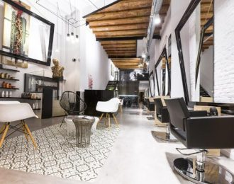Black & wood Hair Salon Interior Design