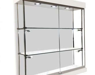 LED light frameless wall display cabinet with glass showcase