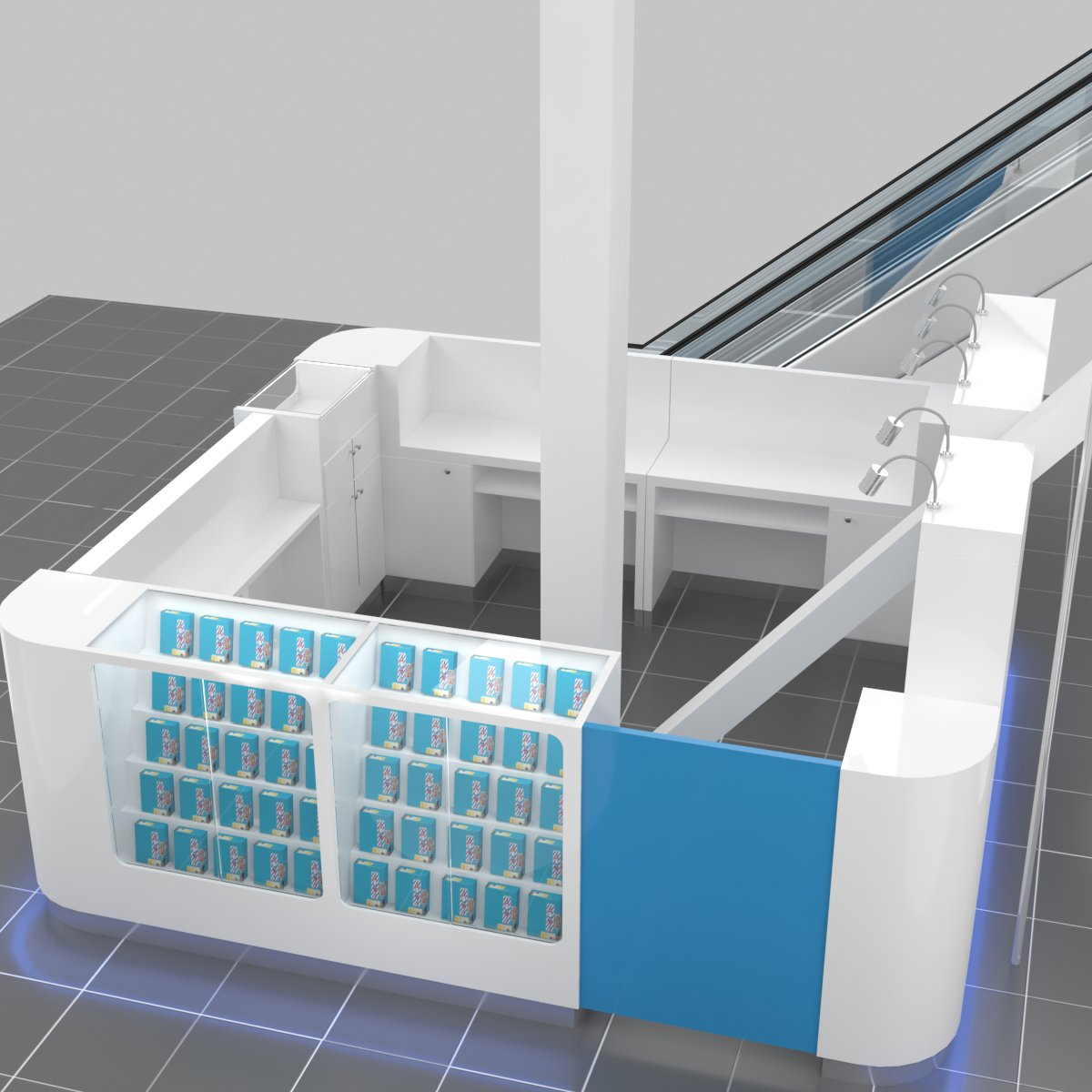 The 3d design of mobile phone accessories kiosk