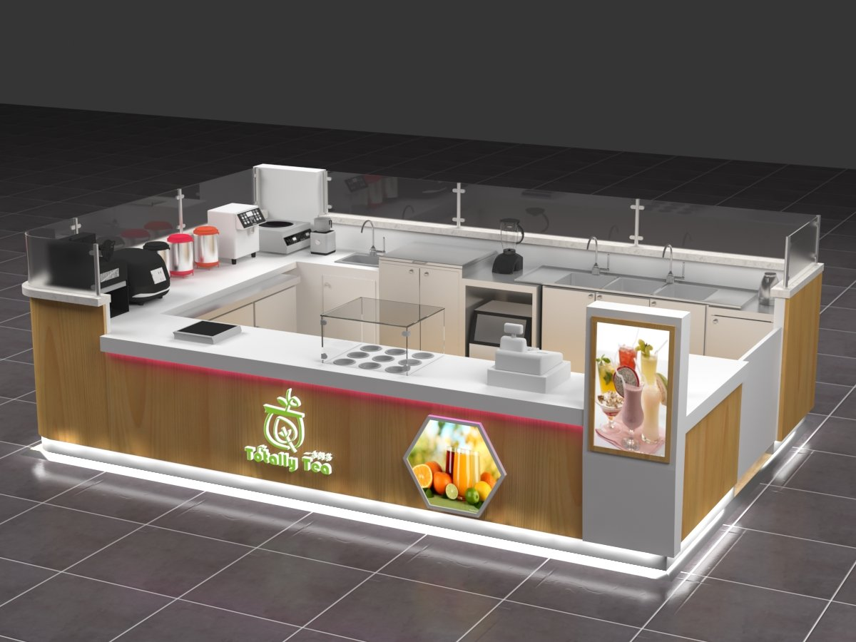 Totally Tea milktea kiosk Shopping mall bubble tea kiosk for sale