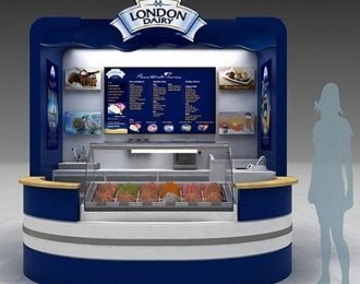 Unique blue ice cream kiosk for shopping mall