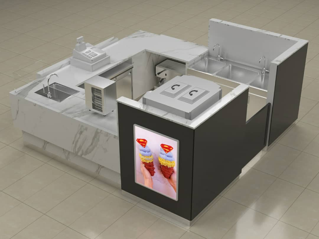 Chimney ice cream kiosk mall food kiosk design