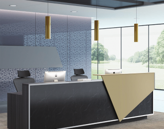 Custom Golden Silvery stone office reception counter