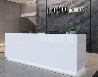 Custom White Artificial Stone Office Front Reception Desk