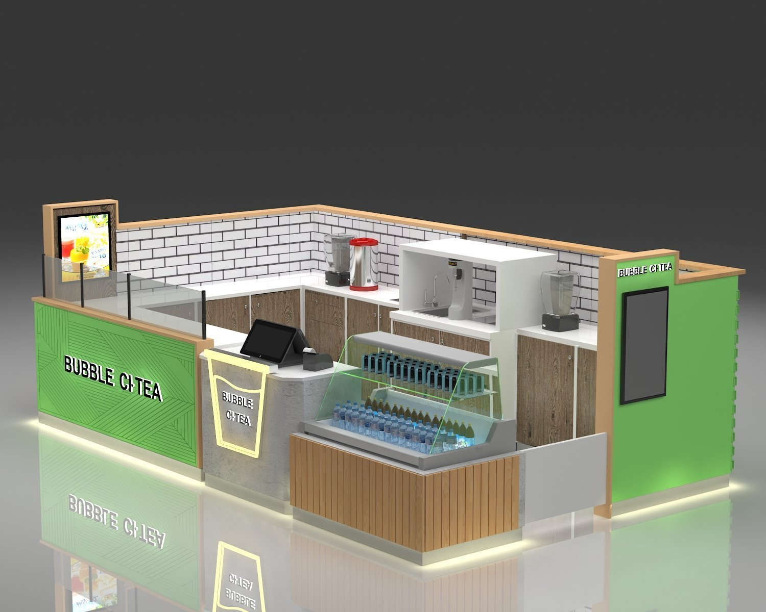 Bubble tea kiosk 3 d design
