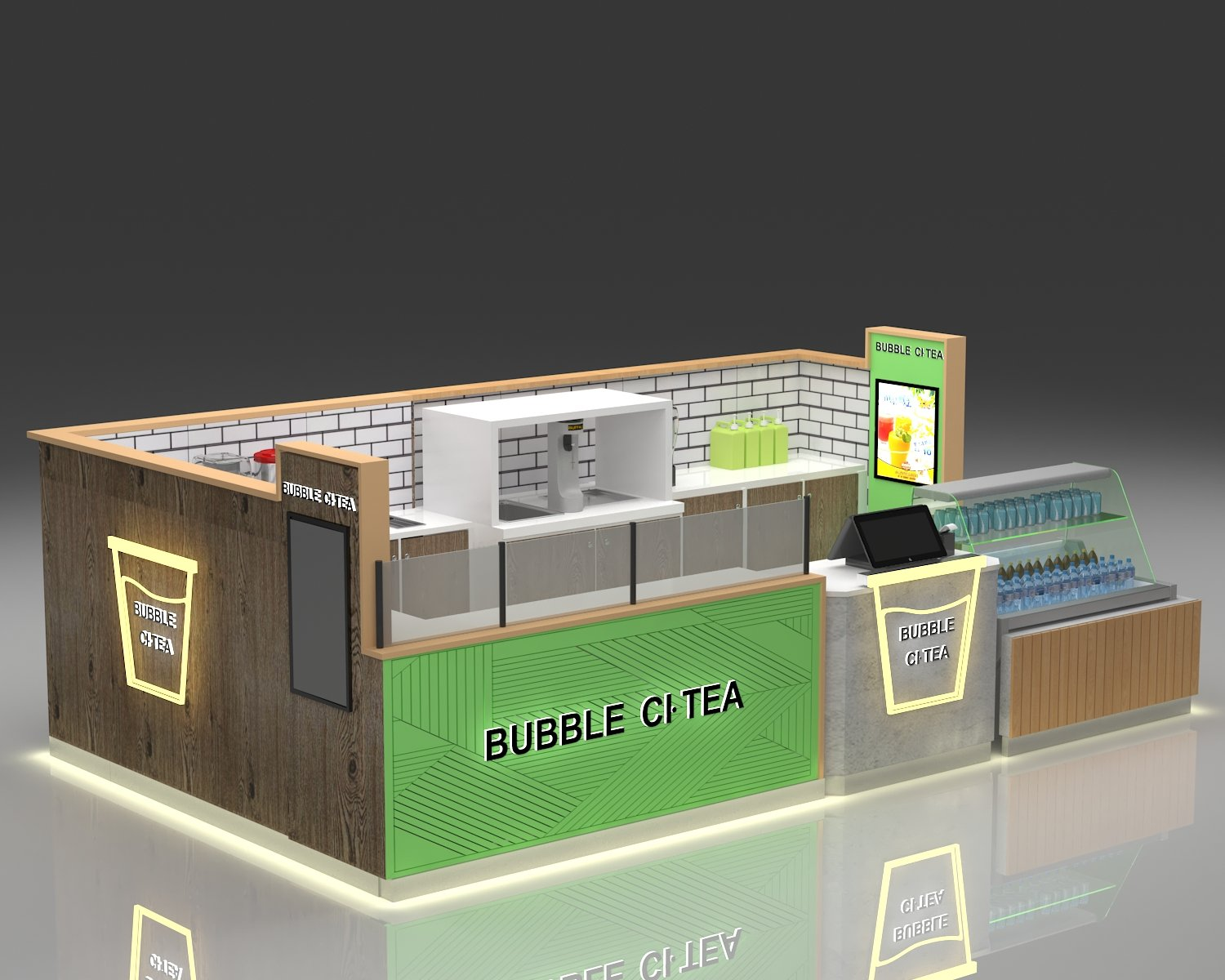 3d design of the bubble tea kiosk