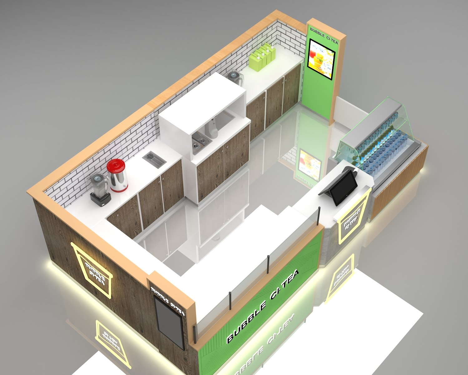 Bubble tea kiosk 3 d design drawing