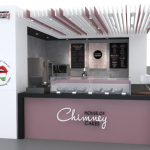 Chimney cones ice cream kiosk mall food kiosk