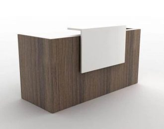 Custom small standing wood laminate guest reception desk for office