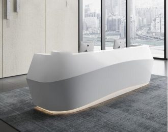 White streamline office reception desk for salon and hotel