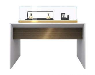 White Jewelry Display Table with Countertop Glass Display Case