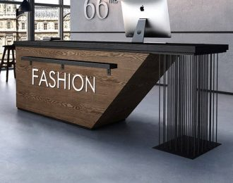 Black powder-coated Metal harp strings Industrial Reception Desk Counter