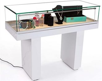 Hydraulic Open Sit Down Locking Jewelry Display Case With Glass Top