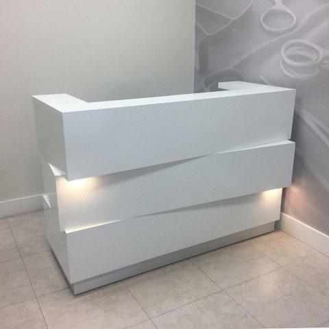 Creative Idea White Glossy Welcome Salon Reception Desk