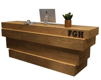 Wood Block Timber Style Split-level Reception Desk Design