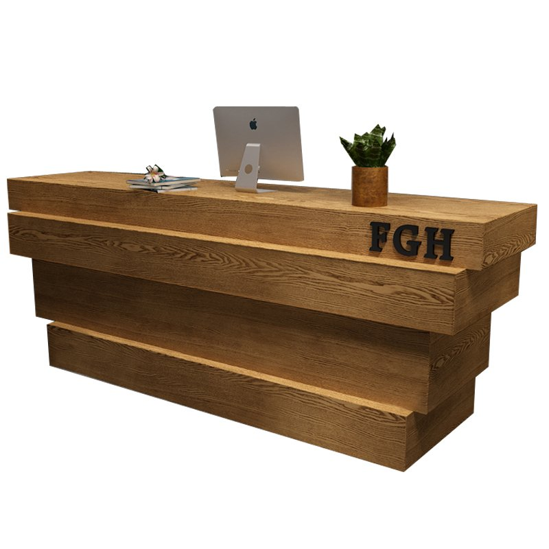 timber reception desk