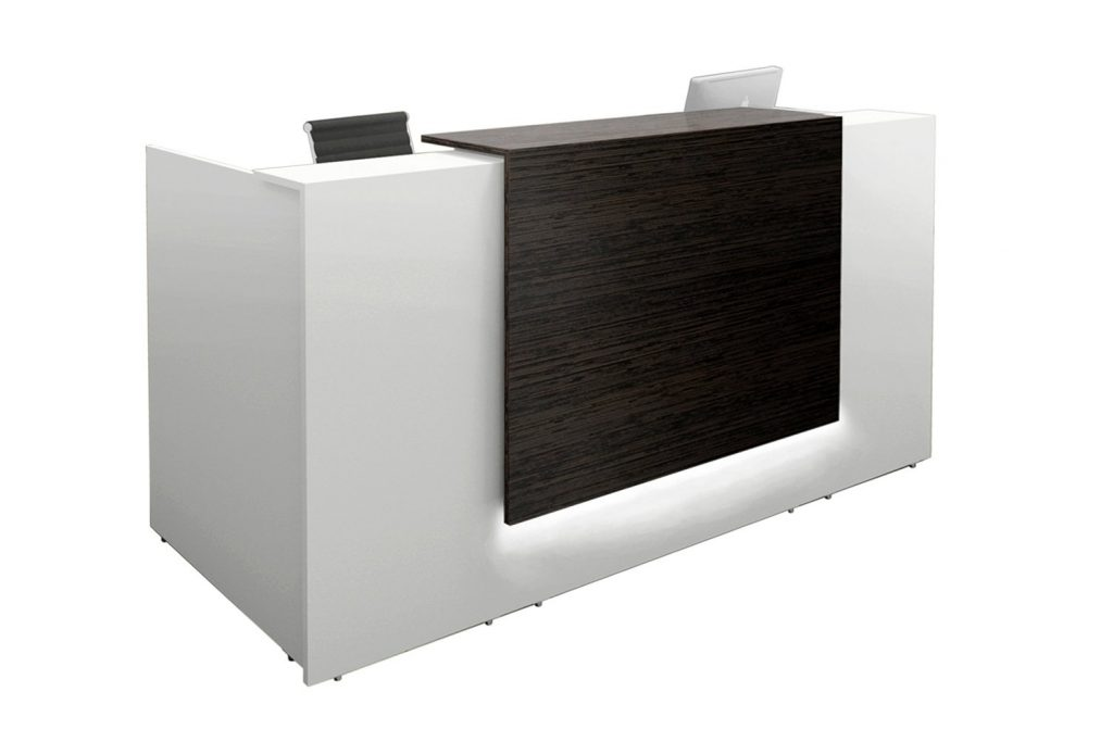 small white reception desk