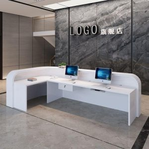 Back view L shape reception desk