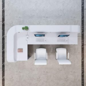 Top view L shape reception desk