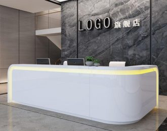 L shape led light office salon reception counter for front desk area