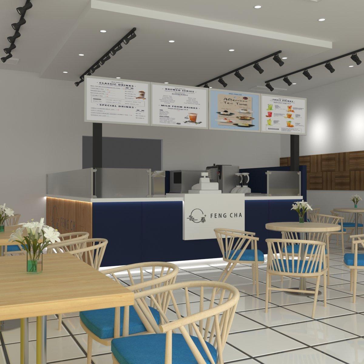 Milk Tea Kiosk Design Bubble Tea Store Work Counter To Make The Bubble Tea