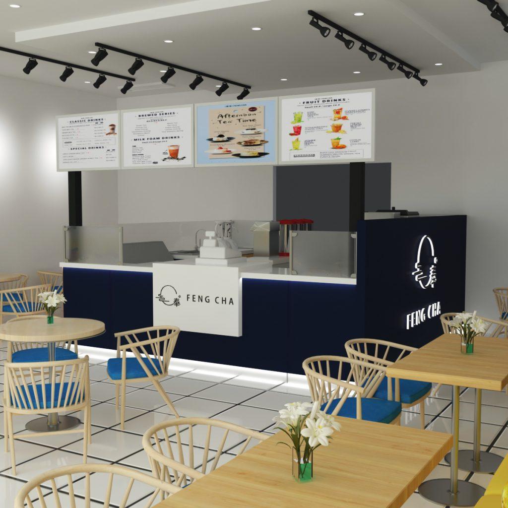 Milk Tea Kiosk Design Bubble Tea Store Work Counter To