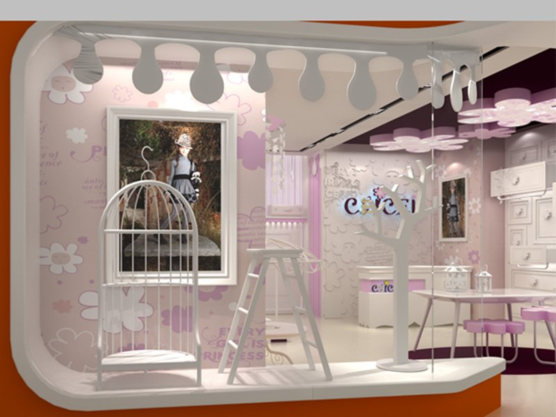 Pink Color Decoration Small Clothes Store Kiosk In Dubai
