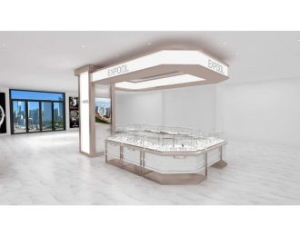 EXPOOL Watch Mall Pop-up Shop Supply Design in White Paint & Champagne Stainless Steel